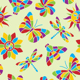Summer mosaic seamless pattern. Seamless summer vector pattern in vibrant colors vector illustration