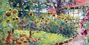 Summer motif painting. Landscape in lower saxony - oil paints on acrylics Royalty Free Stock Photo