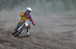 Summer motocross on the territory of Ramenskoye district, Moscow Royalty Free Stock Images