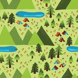 Summer mountain Camping seamless vector pattern stock illustration
