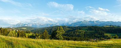 Summer mountain evening country panorama. Stock Photography