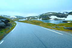 Summer mountain with lake and road (Norway) Royalty Free Stock Image