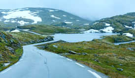 Summer mountain with lake and road (Norway) Stock Photography