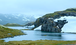 Summer mountain with lake and snow (Norway) Stock Images