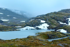Summer mountain with lake and snow (Norway) Royalty Free Stock Photography