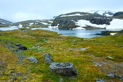 Summer mountain with lake and snow (Norway) Royalty Free Stock Image