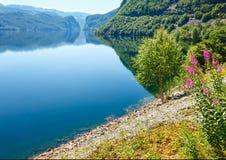 Summer mountain lake Suldalsvatn (Norway). Summer mountain lake Suldalsvatn (or Suldalsvatnet) landscape (Suldal, Norway Stock Image