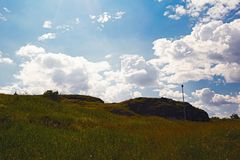 Summer mountain landscape. Summer landscape on the mountain against the sky and clouds Royalty Free Stock Photos
