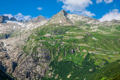 Summer mountain landscape around Gletsch, Switzerland Royalty Free Stock Image