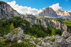 Summer Mountain Landscape with big peaks of Dolomites, Alps, Ita Stock Image