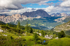 Summer Mountain Landscape with big peaks of Dolomites and trees, Royalty Free Stock Images