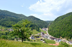 Summer mountain landscape. Blue sky and a green meadow - Cheile Gradistei - Romania Stock Photography