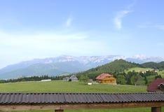 Summer mountain landscape. Blue sky and a green meadow - Cheile Gradistei - Romania Royalty Free Stock Photo