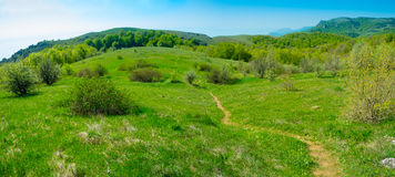 Summer mountain landscape in Crimea. Summer mountain panorama landscape in Crimea, Ukraine Royalty Free Stock Photography