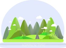 Summer mountain landscape. Green hills, trees, blue sky, white clouds, grey highway. Flat design Stock Image