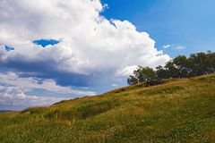 Summer mountain landscape. Summer landscape on the mountain against the sky and clouds Stock Image