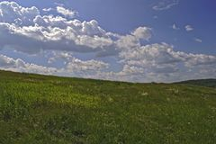 Summer mountain landscape. Summer landscape on the mountain against the sky and clouds Royalty Free Stock Photo