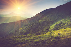 Summer mountain landscape at sunshine. Hiking trail in the hills. Royalty Free Stock Image