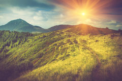 Summer mountain landscape at sunshine. Hiking trail in the hills. Stock Photography