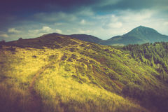 Summer mountain landscape at sunshine. Hiking trail in the hills. Stock Photo
