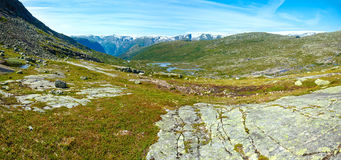 Summer mountain (Norway) panorama. Summer mountain landscape with lakes on slope (Norway Royalty Free Stock Images