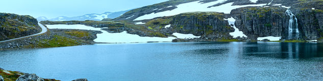 Summer mountain panorama with lake and snow (Norway) Stock Photo