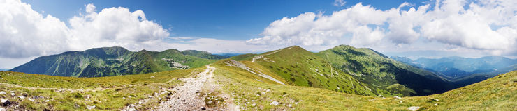 Summer mountain ridge. National park Low Tatras-Slovakia/Europe. Panorama from 9 vertical shots Royalty Free Stock Photography