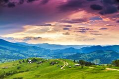 Free Summer Mountain Rural Landscape, Awesome Evening Sunset View On Village And Meadow Royalty Free Stock Photography - 172951657