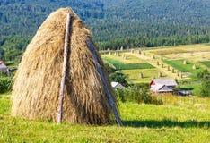 Summer mountain rural view with haystacks (Carpathian, Ukraine) Royalty Free Stock Photos