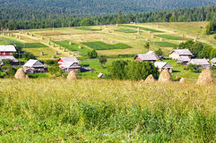 Summer mountain rural view with haystacks (Carpathian, Ukraine) Royalty Free Stock Images