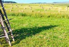 Summer mountain rural view with haystacks (Carpathian, Ukraine) Royalty Free Stock Photo