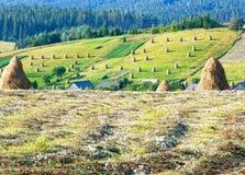 Summer mountain rural view with haystacks (Carpathian, Ukraine) Stock Photography