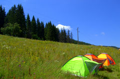 Summer mountain tents getaway. Mountain meadow with colorful tents and pine trees forest beautiful scenery of Rhodope Mountains,Rozhen peak,Bulgaria Stock Photos