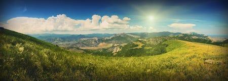 Summer mountain valley. Panorama of Crimea sunny summer mountain valley Stock Photography