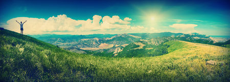 Summer mountain valley_vintage. Vintage picture. Panorama of Crimea sunny summer mountain valley Royalty Free Stock Photography