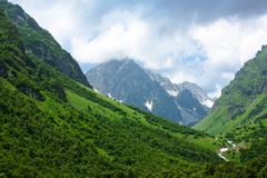 Summer Mountain View. Summer view of Caucasus mountains Dombain. Dombai, Russia stock photo