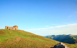 Summer mountain view with observatory ruins Royalty Free Stock Images