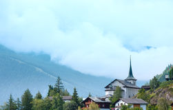Summer mountain village (Alps, Switzerland) Royalty Free Stock Image