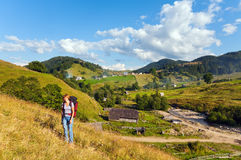 Summer mountain village landscape Stock Images