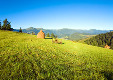 Summer mountain village outscirts Stock Images