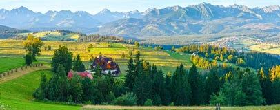 Summer mountain village panorama (Poland). Summer mountain village outskirts and Tatra range behind (Gliczarow Dolny in valley, Poland Stock Photos