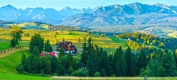 Summer mountain village panorama (Poland). Summer mountain village outskirts and Tatra range behind (Gliczarow Dolny in valley, Poland Royalty Free Stock Image