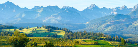Summer mountain village panorama (Poland) Royalty Free Stock Photos