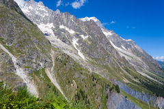 Slopes of Mount Blanc Massif - Summer Mountain Stock Images