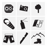 Summer in the mountains. Black and white icons stock photo