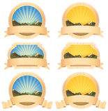 Summer Mountains Banner And Scroll Ribbons Stock Image