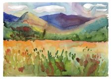 Summer mountains with a flower meadow. Watercolor lanscape illustration Royalty Free Stock Image