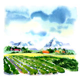 Summer mountains green field, blue sky, nature landscape, watercolor illustration Stock Photography