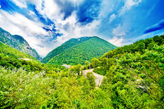 Summer mountains landscape, clouds sky Stock Image