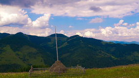 Summer Mountains Landscape with Haystack and Clouds. stock footage